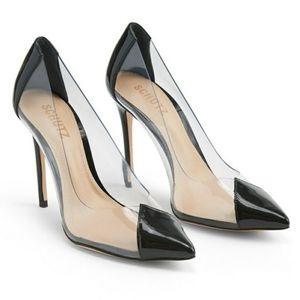SCHUTZ Cendi black and transparent heels